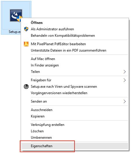 Screenshot: Kontextmenü: Eigenschaften der Installationsdatei