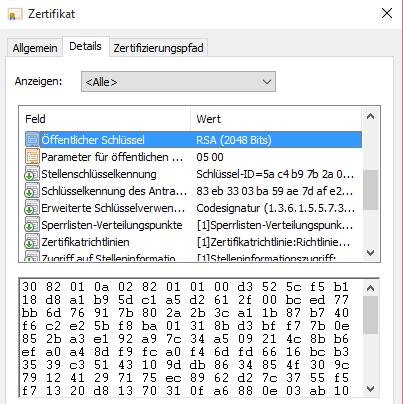 Screenshot: Öffentlicher Schlüssel