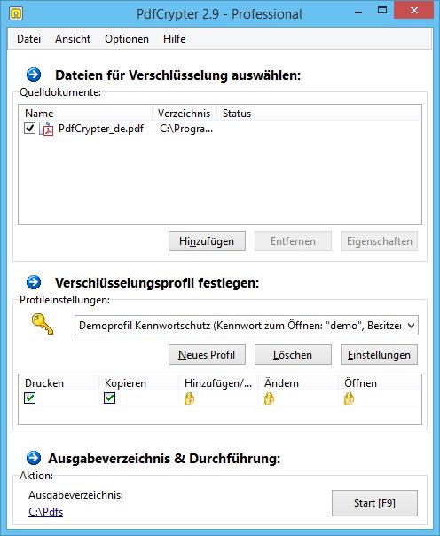 PdfCrypter Hauptfenster (Screenshot)