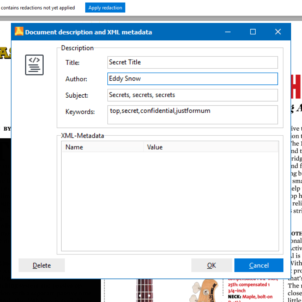 Screenshot (Zoom): Delete XML Meta information from PDFs