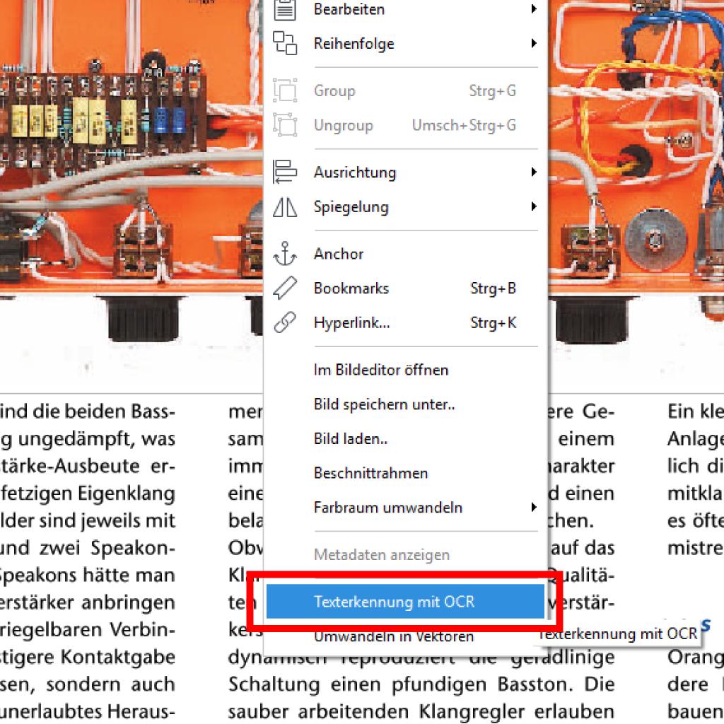 Screenshot (Zoom): Texterkennung mit OCR in PdfEditor aufrufen