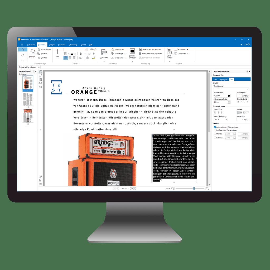 PC mit PdfEditor: geöffnetes PDF mit ausgewähltem Text (seitlich)