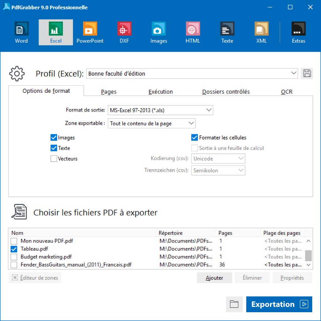 PdfGrabber : PDF en Excel