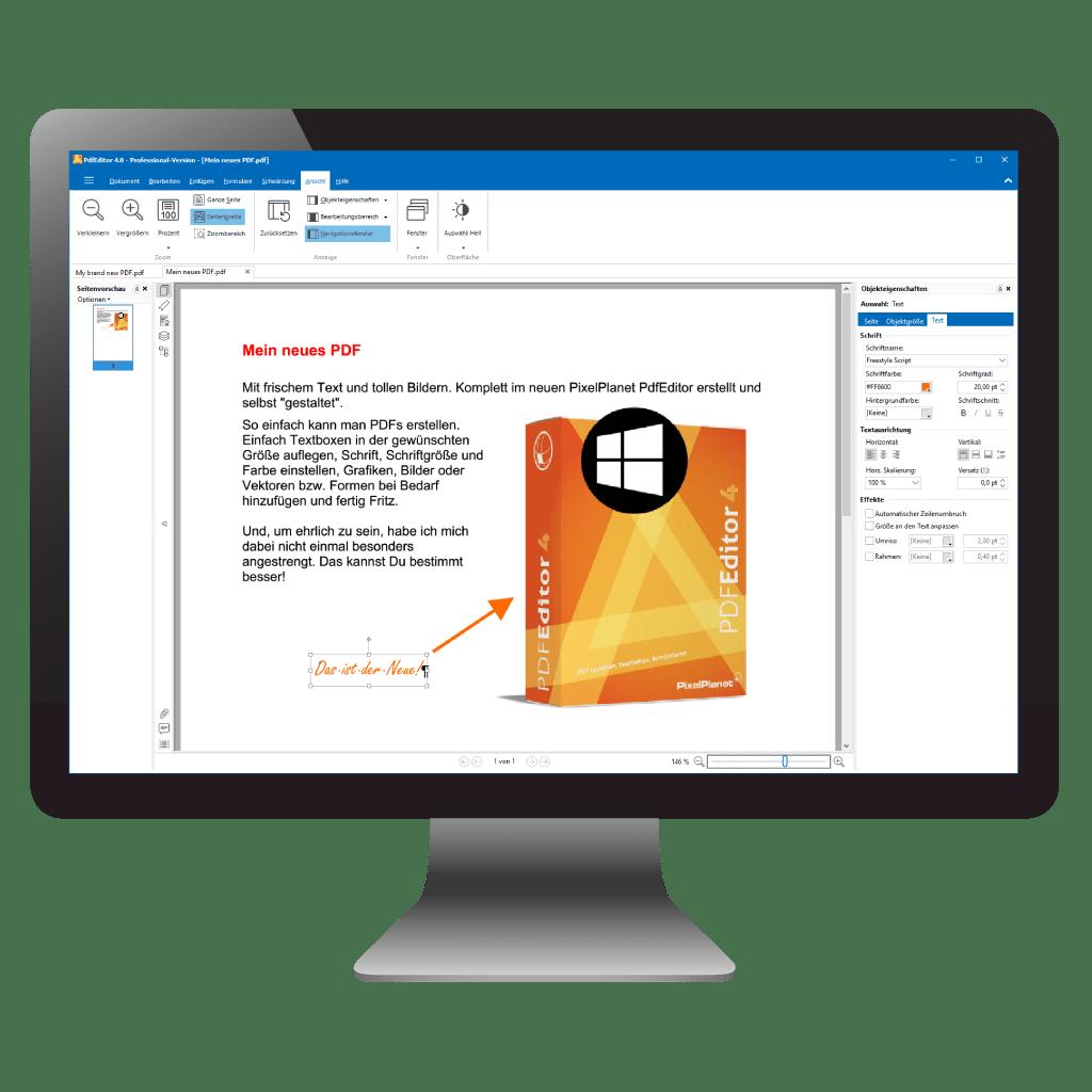 PdfEditor mit geöffnetem, neu erstellten PDF