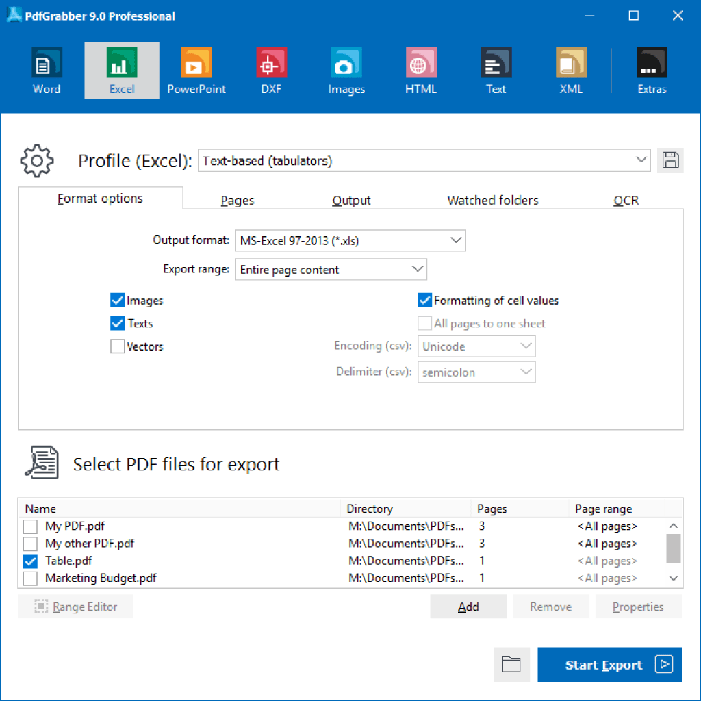 PdfGrabber: Profile to export PDF to Excel