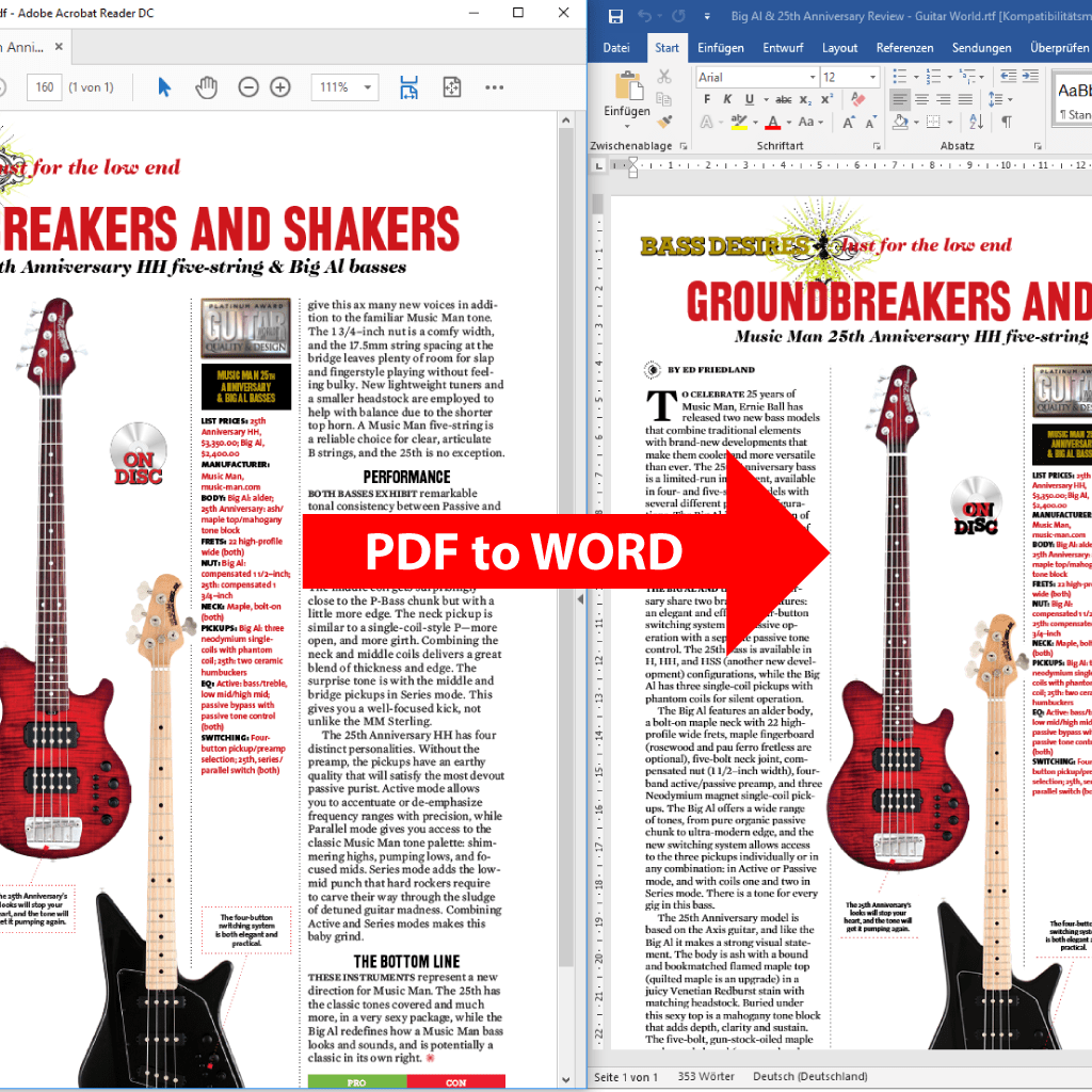 Comparison: PDF to Word conversion with PdfGrabber