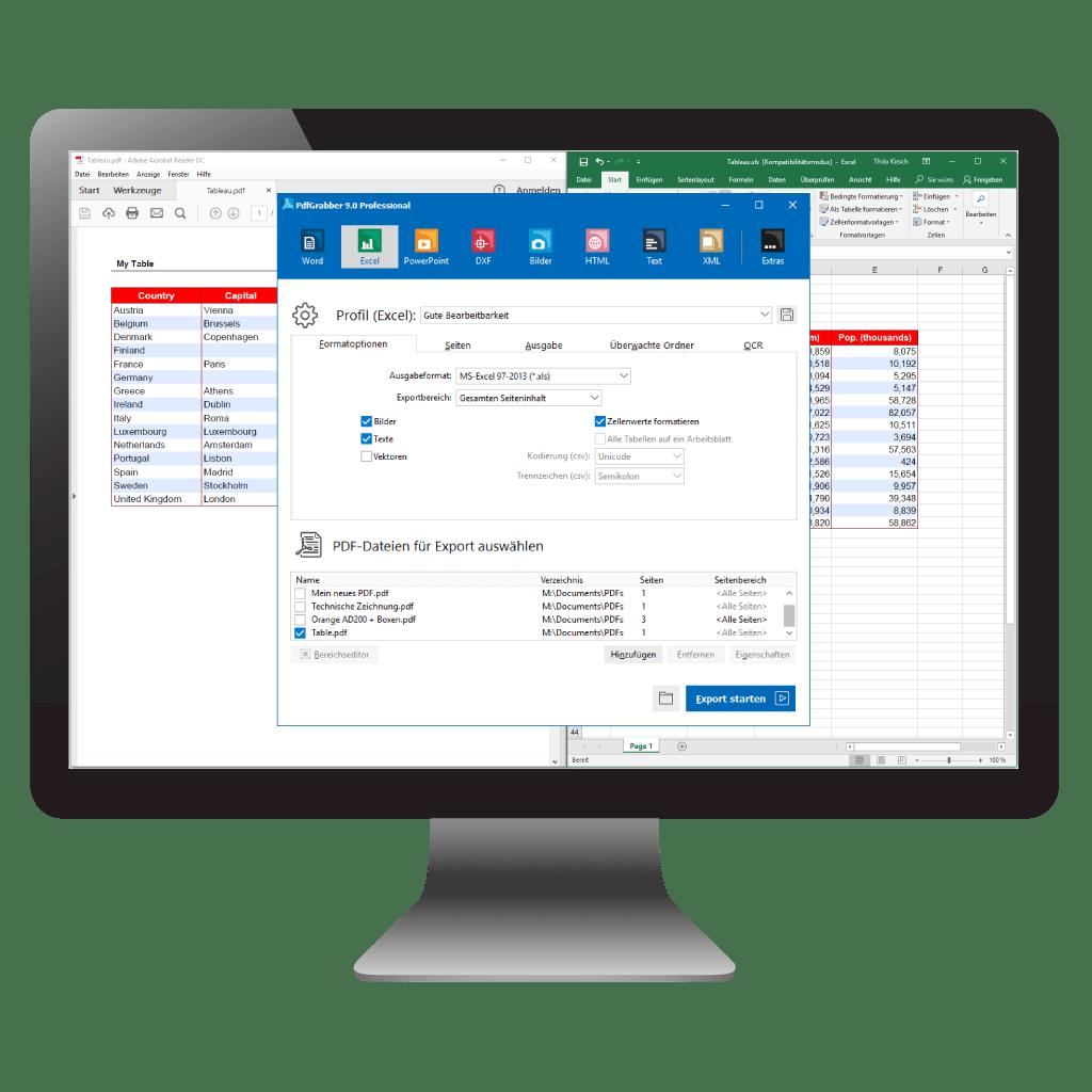 PDF in Excel umwandeln mit PdfGrabber