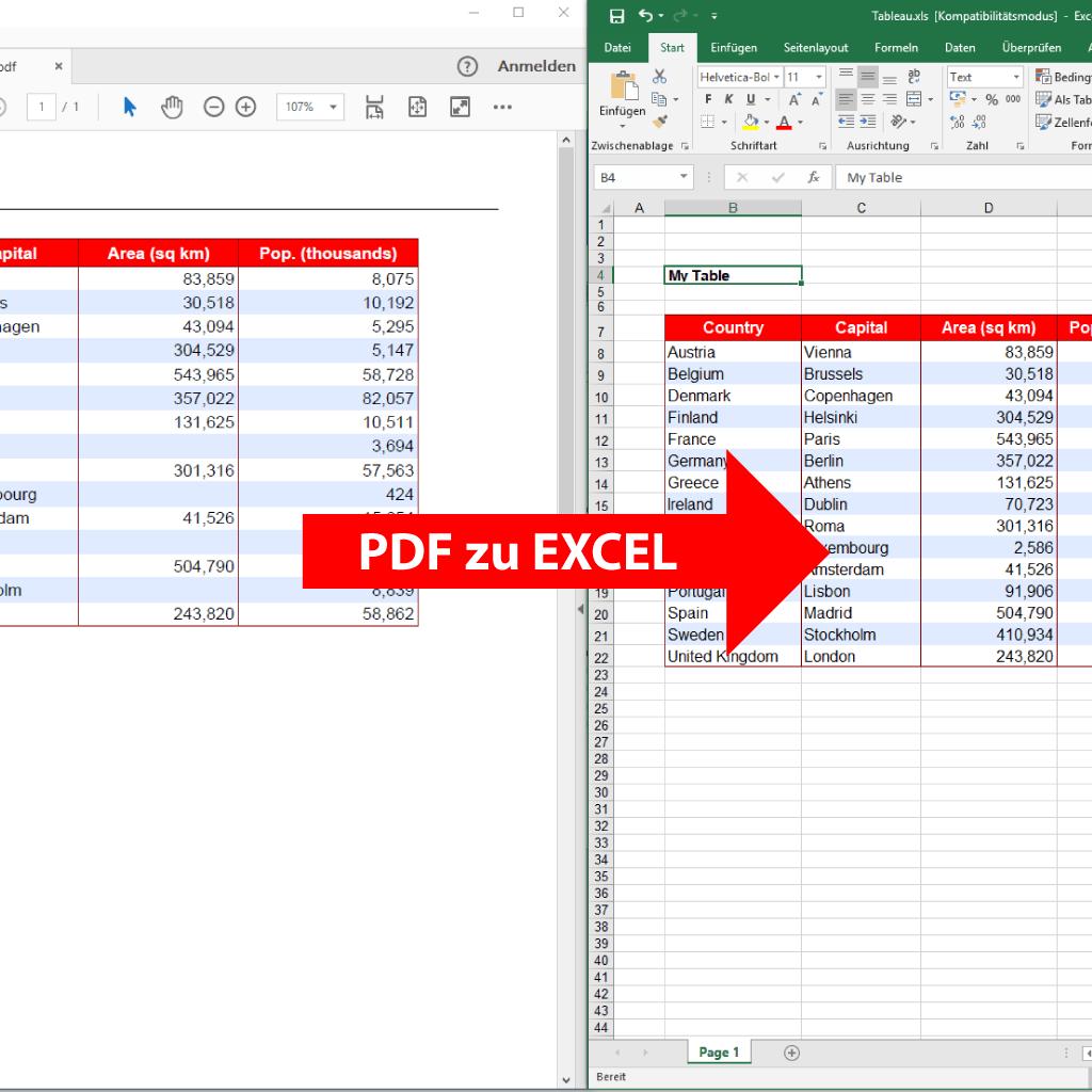 Vergleich: PDF in Excel umwandeln mit PdfGrabber