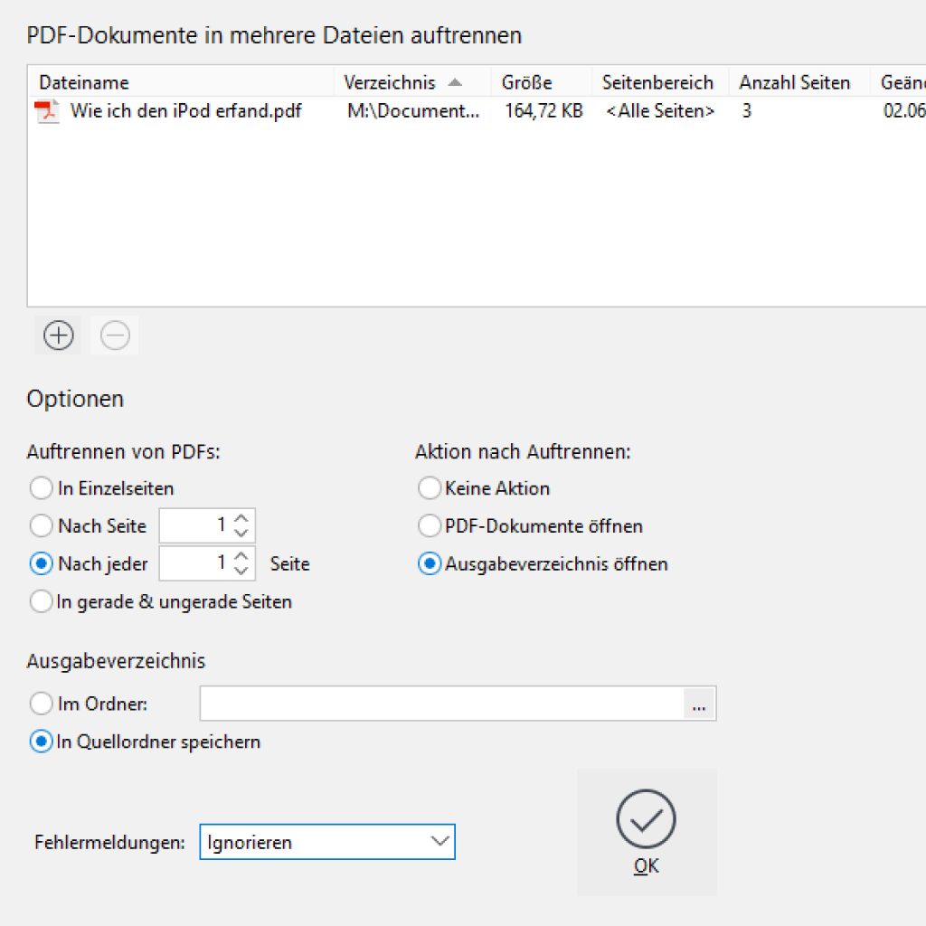 Screenshot (Zoom): PDF auftrennen mit PdfEditor