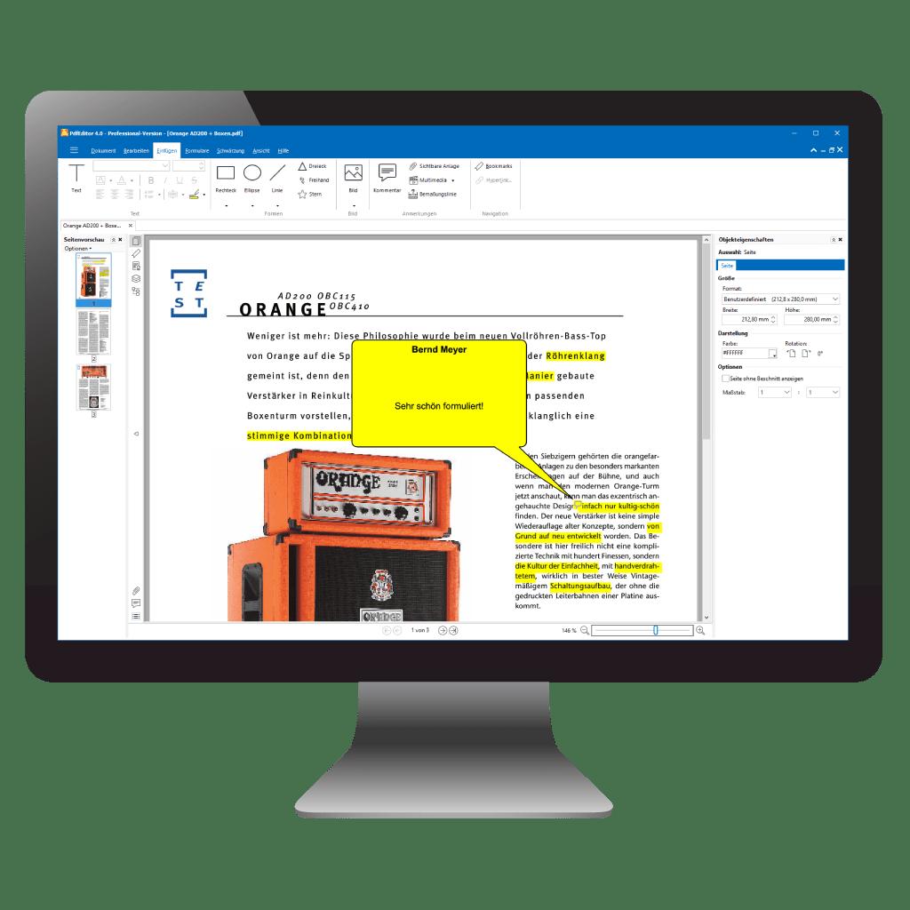 PDFs markieren und kommentieren mit PdfEditor