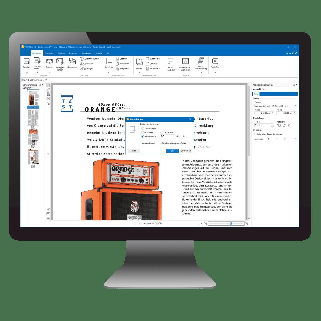 Seiten aus PDF löschen mit PdfEditor