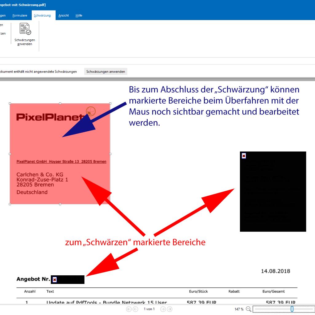 Screenshot (Zoom): Texte und Bereiche für das Löschen im PDF markieren