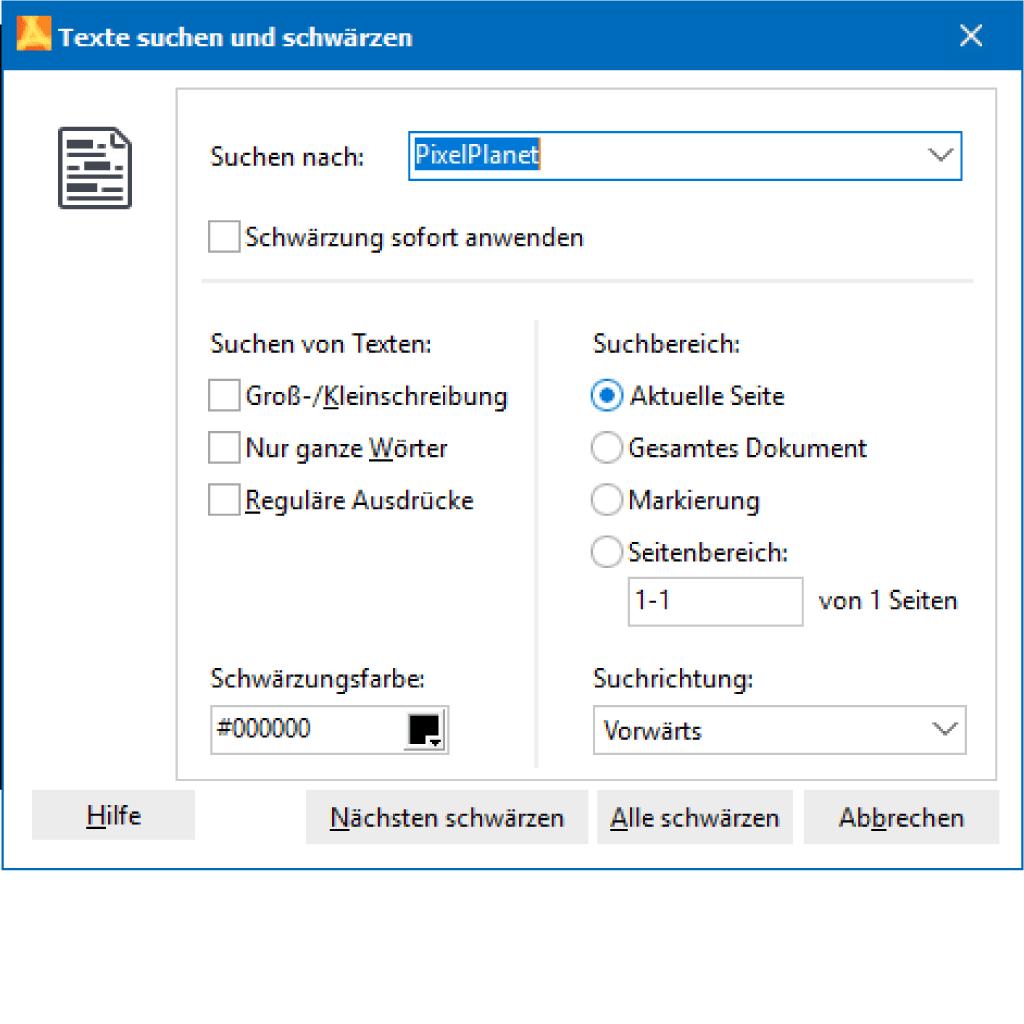 Screenshot (Zoom): Texte suchen und löschen durch Schwärzung