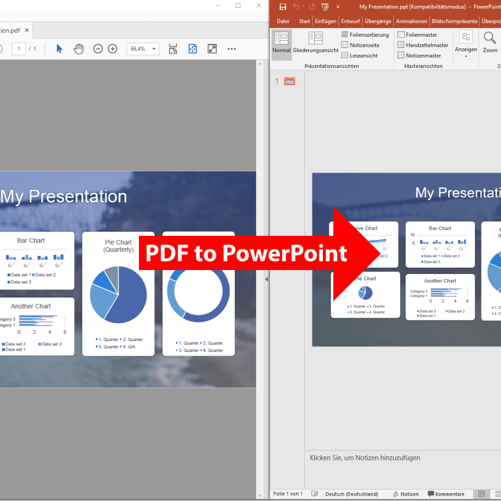 Screenshot (zoom): Comparision PDF to PowerPoint export