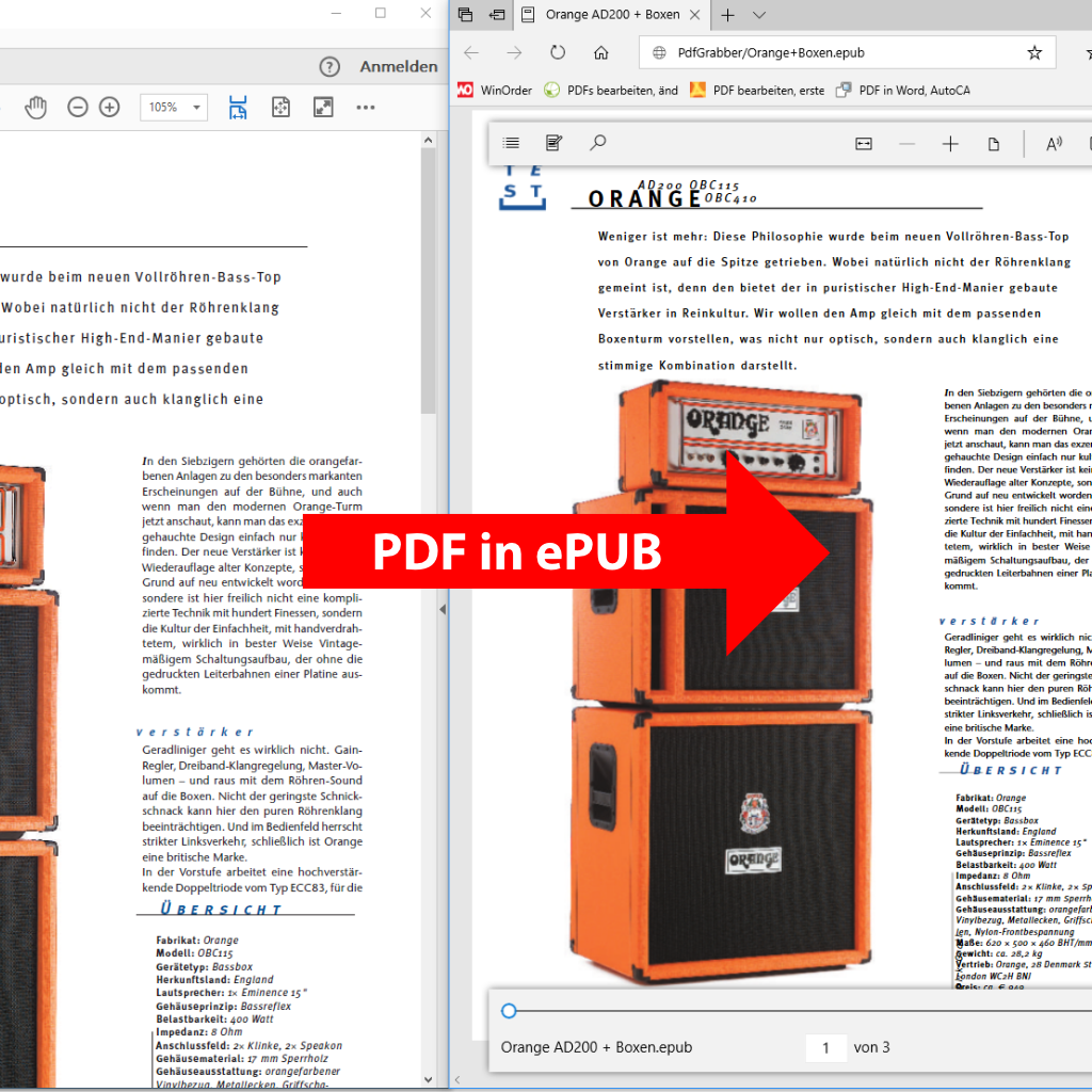 Screenshot (Vergleich): PDF in ePUB / eBook umwandeln