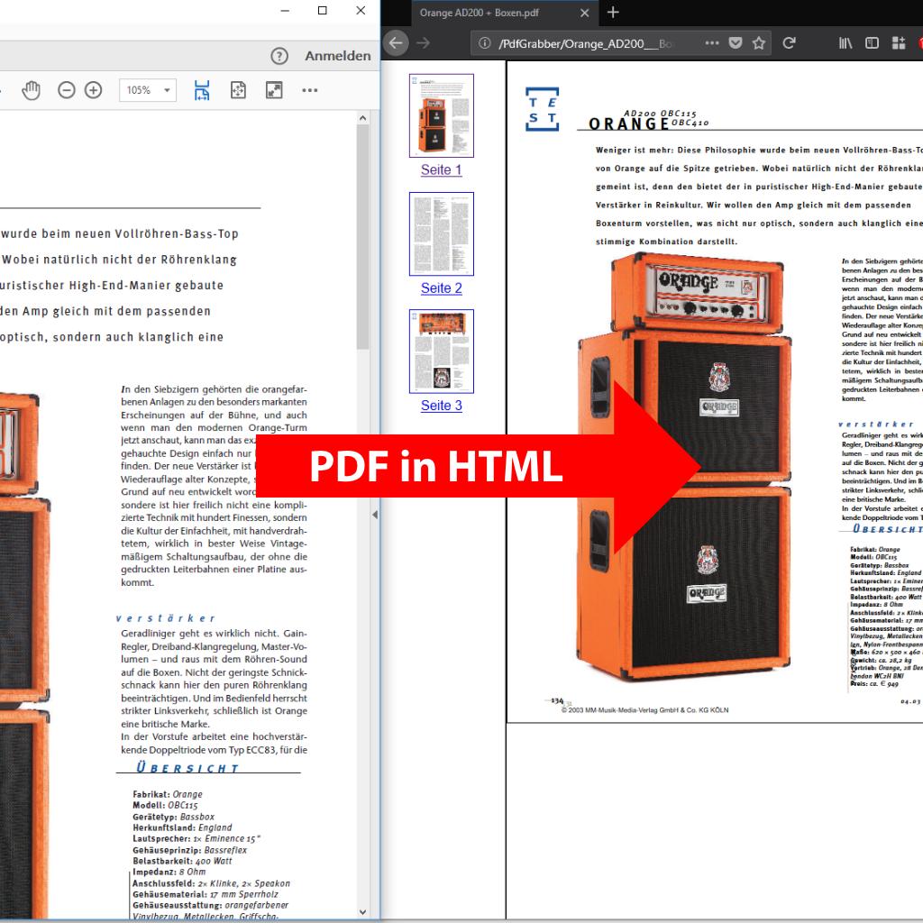 Screenshot (Vergleich): PDF in HTML umwandeln