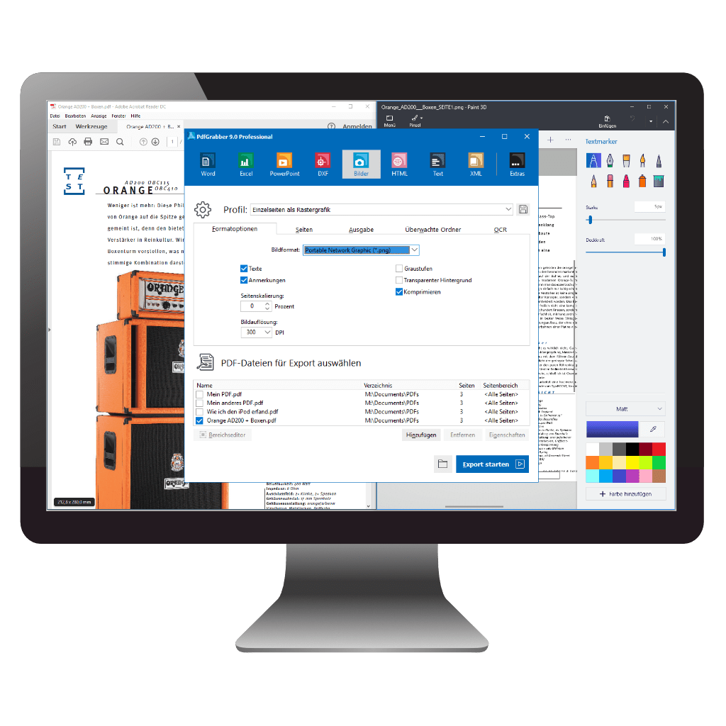 PDF in Bild umwandeln oder Bilder aus PDF exportieren mit PdfGrabber